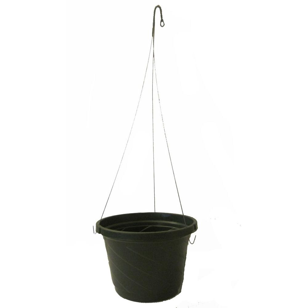 8 in. Green Plastic Hanging Basket