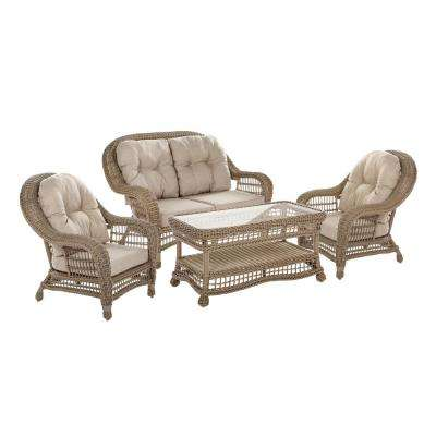 4-Piece Wicker Patio Conversation Set with Beige Cushions
