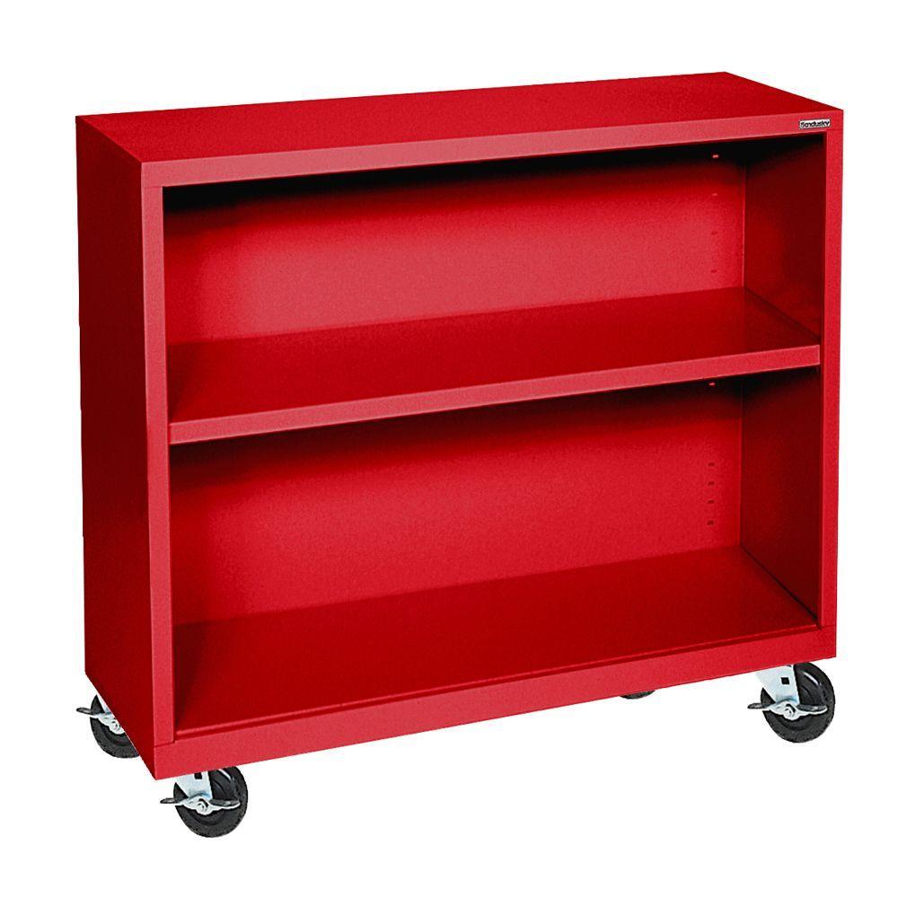 Sandusky 36 in. Red Metal 2-shelf Cart Bookcase with Adjustable Shelves