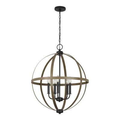 Calhoun 24 in. W 5-Light Weathered Gray Rustic Farmhouse Orb Chandelier with Distressed Oak Globe Finish Accents