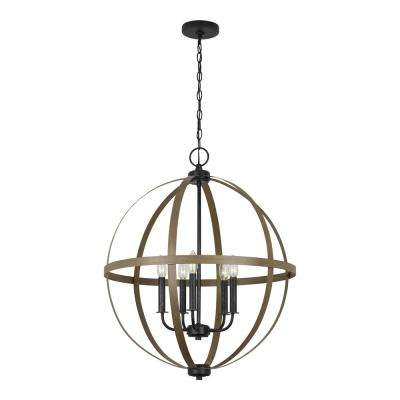 Calhoun 24 in. 5-Light Weathered Gray Orb Chandelier with Distressed Oak