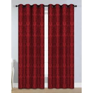 Window Elements Semi-Opaque Veronica Jacquard Extra Wide 84 inch L Grommet Curtain Panel Pair, Burgundy (Set of 2) by Window Elements