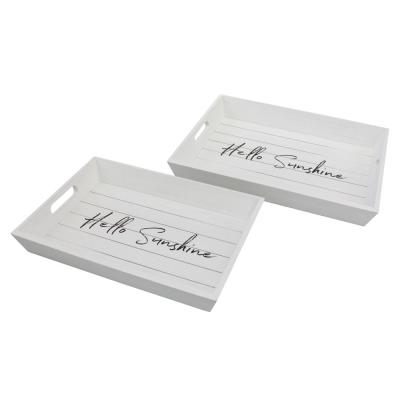 White Wooden Trays (Set of 2)