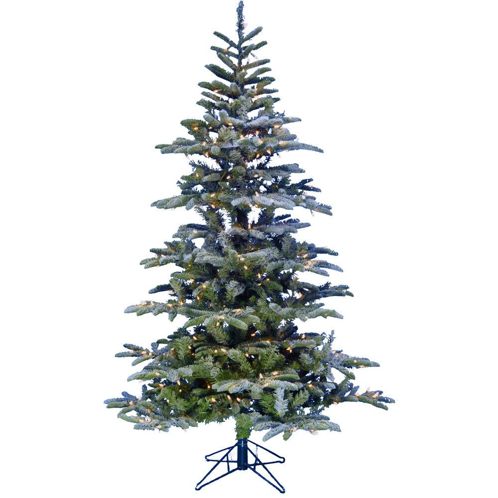 Frosted Slim Christmas Tree: Fraser Hill Farm 6.5 Ft. Pre-Lit Nordic Frost Frosted