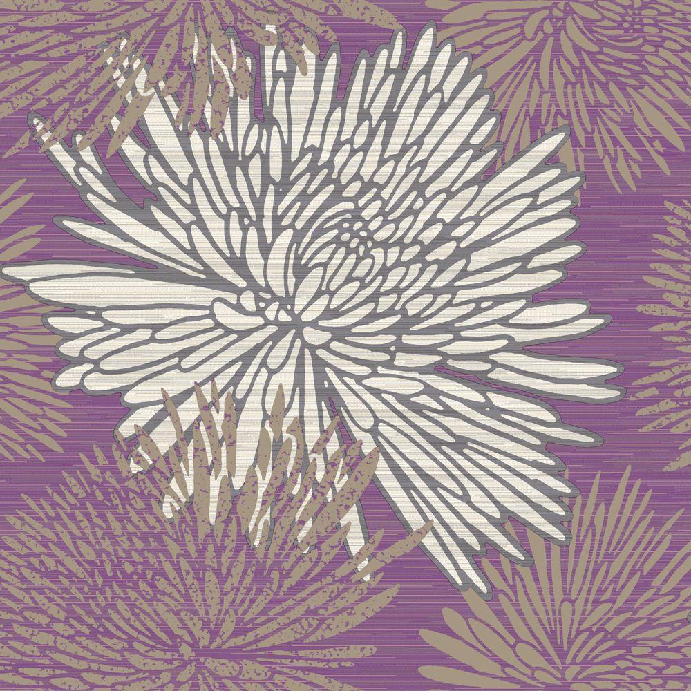 The Wallpaper Company 56 sq. ft. Chrysanth Purple Wallpaper