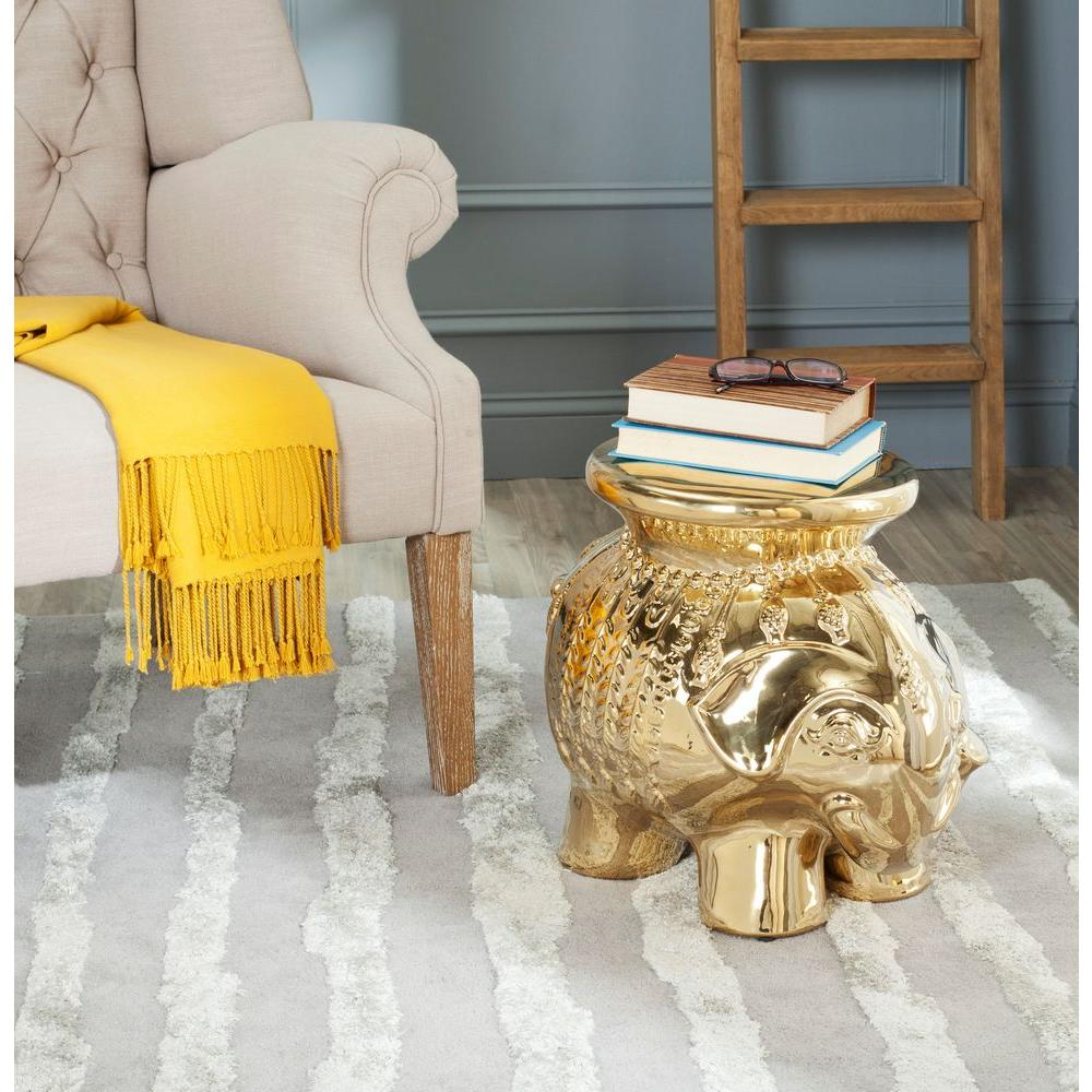 Elephant Gold Ceramic Patio Stool