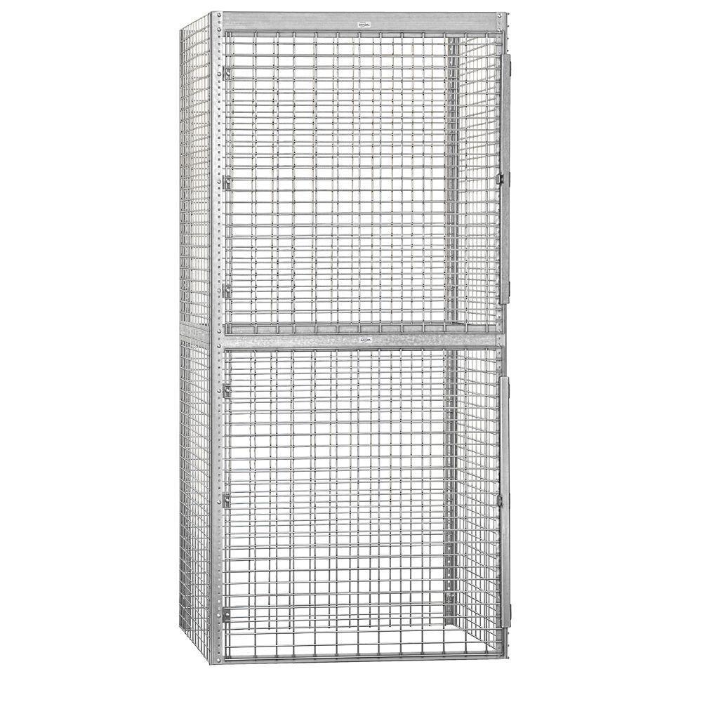 Salsbury Industries 8200 Series 48 in. W x 90 in. H x 36 in. D 2-Tier Bulk Storage Locker Starter in Aluminum