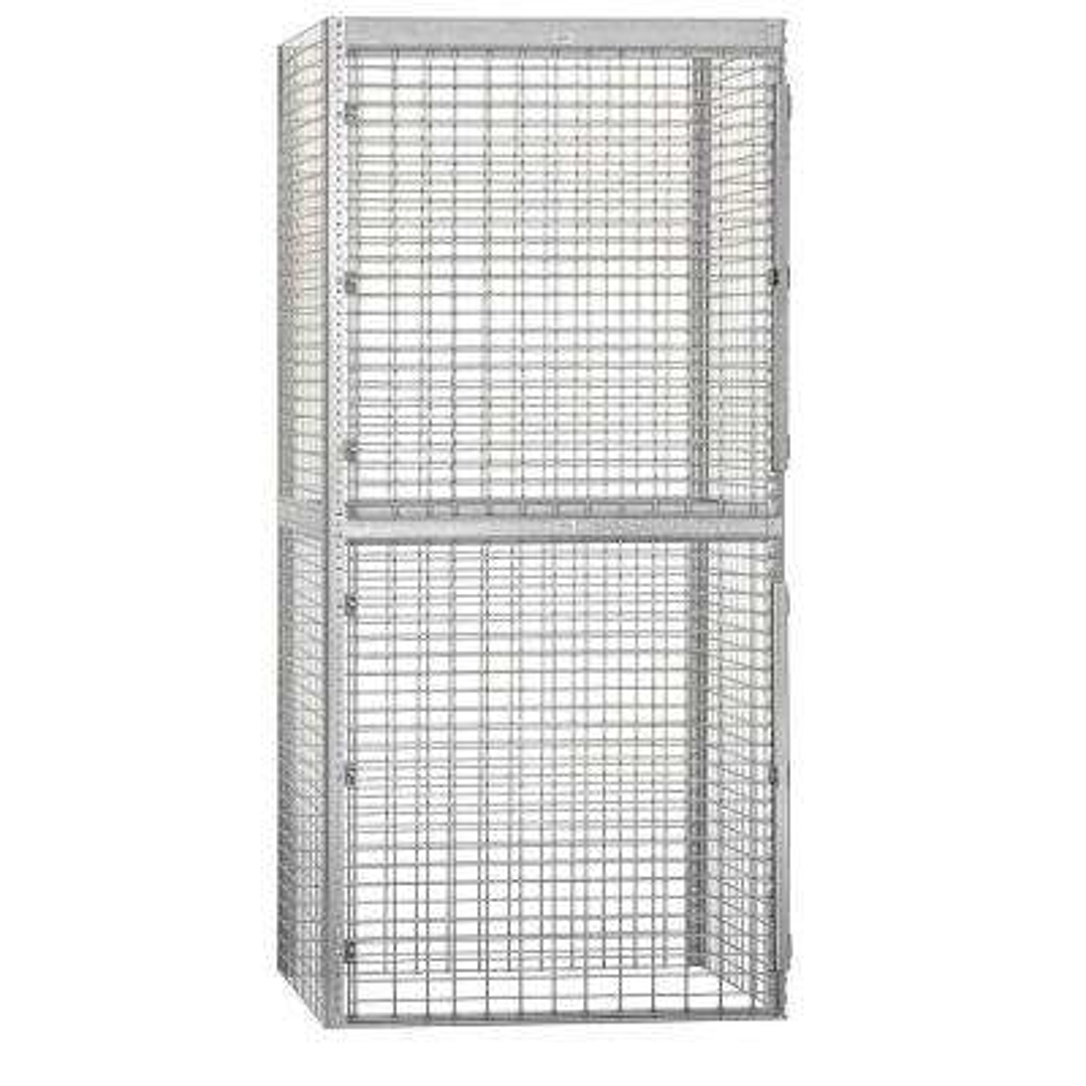 8200 Series 48 in. W x 90 in. H x 36 in. D 2-Tier Bulk Storage Locker Starter in Aluminum