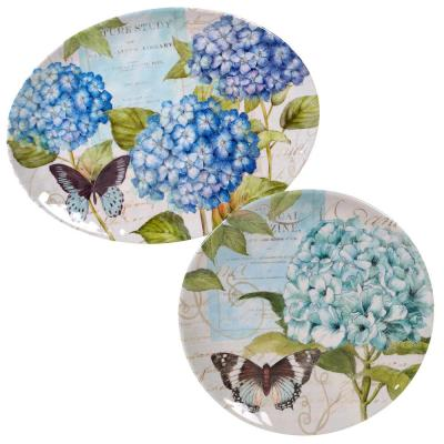 Hydrangea Garden 2-Piece Traditional Multi-colored Melamine Outdoor 14 and 18 in. Platter Set