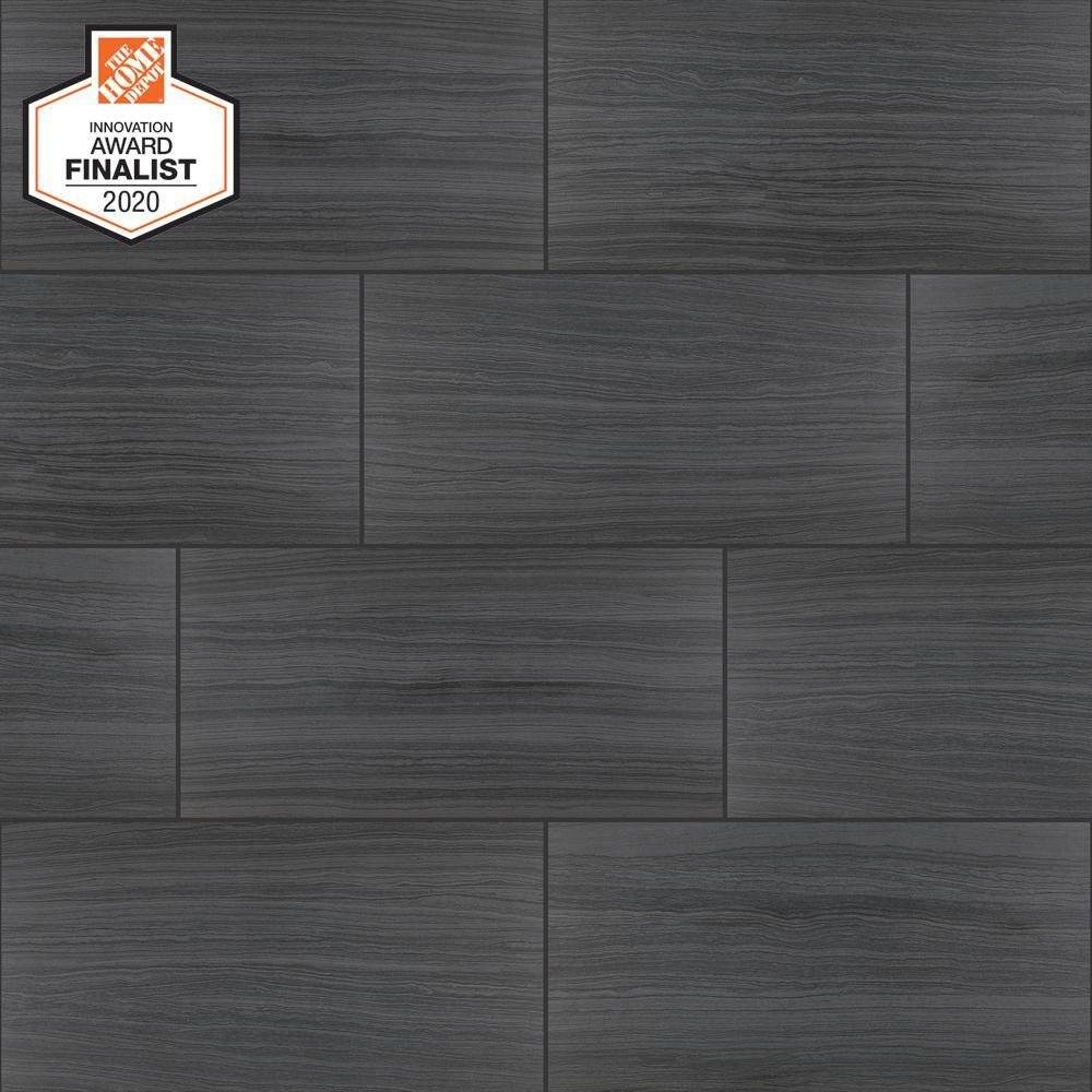QuicTile 12 in. x 24 in. Graphite Matte Porcelain Locking Floor Tile (9.6 sq. ft. / case)