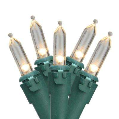 Set of 50 Warm White LED Mini Christmas Lights with Green Wire