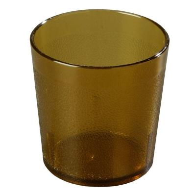 9 oz. SAN Plastic Stackable Old Fashion Tumbler in Amber (Case of 72)