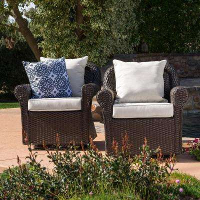 Yamileth Dark Brown Wicker Outdoor Rocking Chair with Beige Cushions (2-Pack)