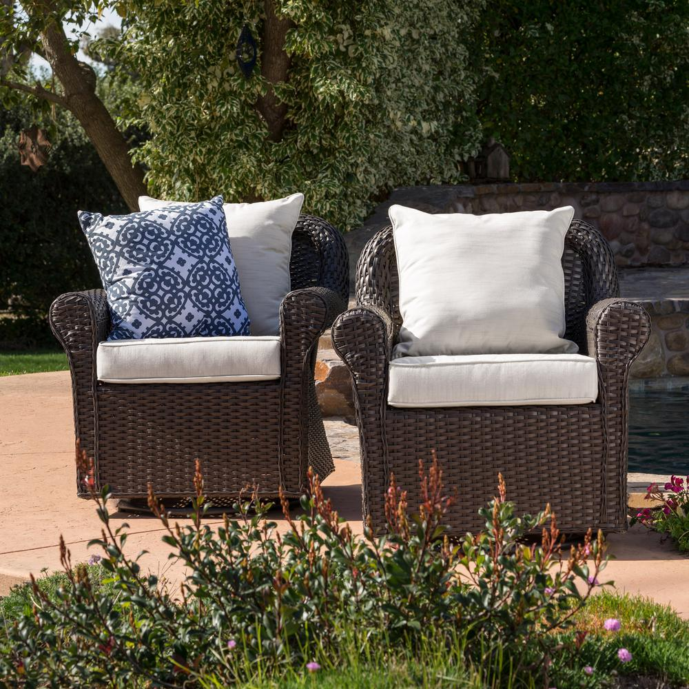 Le House Yamileth Dark Brown Wicker Outdoor Rocking Chair With Beige Cushions 2 Pack