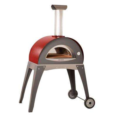 27.5 in. x 15.75 in. Outdoor Wood Burning Pizza Oven in Red