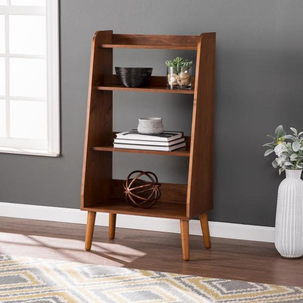 44.5 in. Walnut Wood 4-shelf Accent Bookcase with Open Back