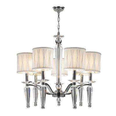Gatsby 7-Light Chrome and Clear Crystal Chandelier with White Fabric Shade