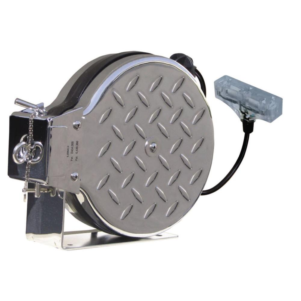 Tasco 25 ft. Diamond Plated Chrome Retractable Reel with Lighted 3-Outlet Receptacle-DISCONTINUED