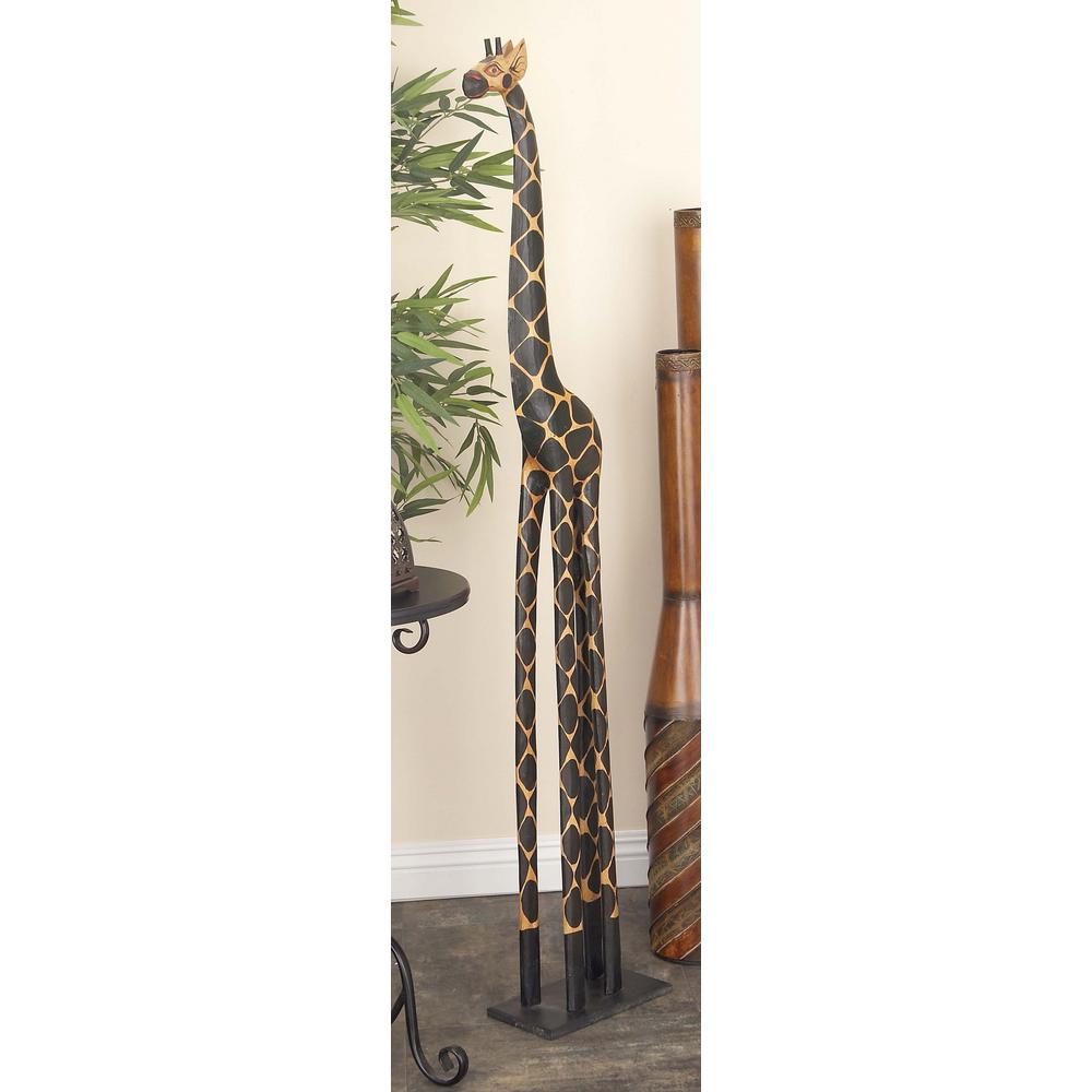 Tall Giraffe Wooden Sculpture