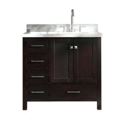 Cambridge 37 in. Bath Vanity in Espresso with Marble Vanity Top in Carrara White with White Basin