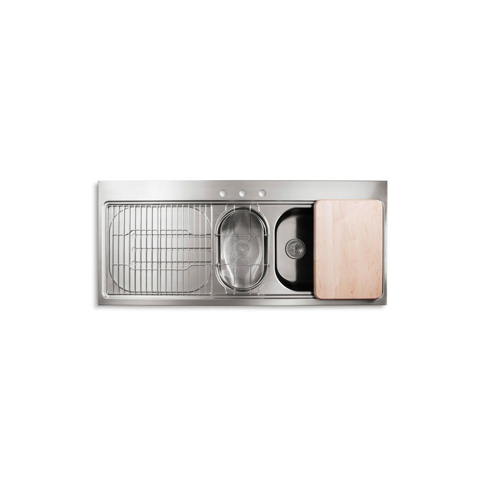 KOHLER PRO TaskCenter Tile-in Stainless Steel 60x25.75x10.25 3-Hole Double Bowl Kitchen Sink-DISCONTINUED