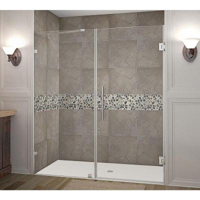Aston Nautis 71 In X 72 In Completely Frameless Hinged Shower Door In Stainless Steel Sdr985 Ss 71 10 The Home Depot