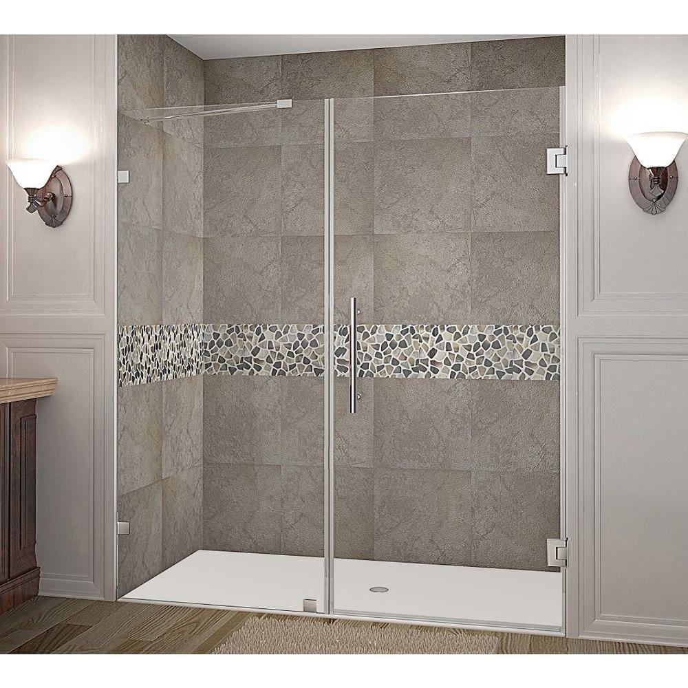 Nautis 71 in. x 72 in. Completely Frameless Hinged Shower Door in Stainless Steel