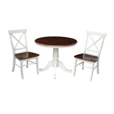 3-Piece Espresso and Distressed Almond Dining Set