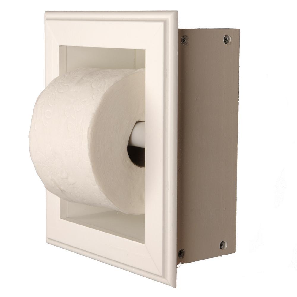 Newton Recessed Toilet Paper Holder 21 Holder in White Wall Hugger Frame