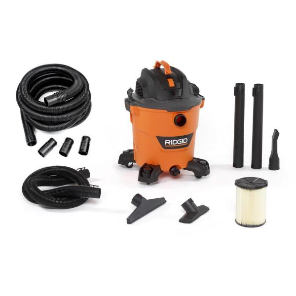 12 Gal. 5.0-Peak HP NXT Wet/Dry Shop Vacuum with Filter, Hose, Accessories and Additional 20 ft. Tug-A-Long Hose