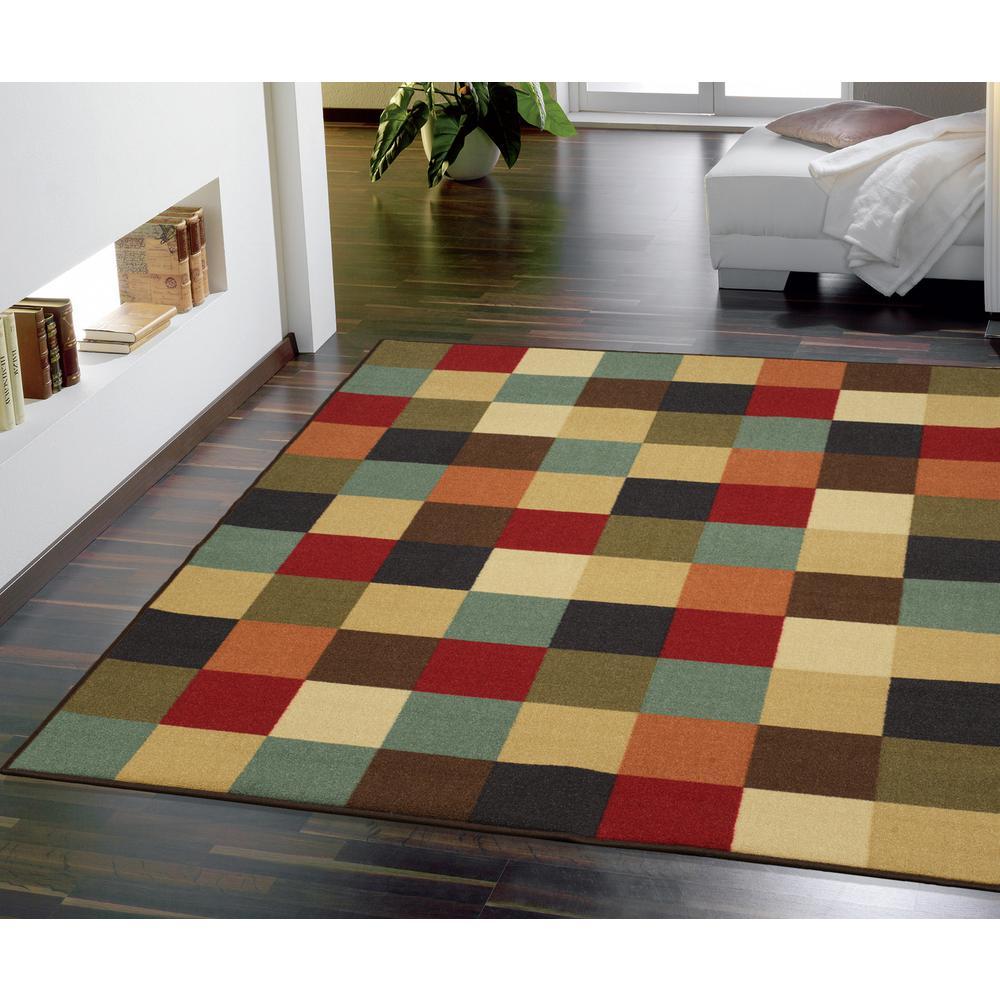 Checkerboard Area Rug: Ottomanson Ottohome Collection Contemporary Checkered