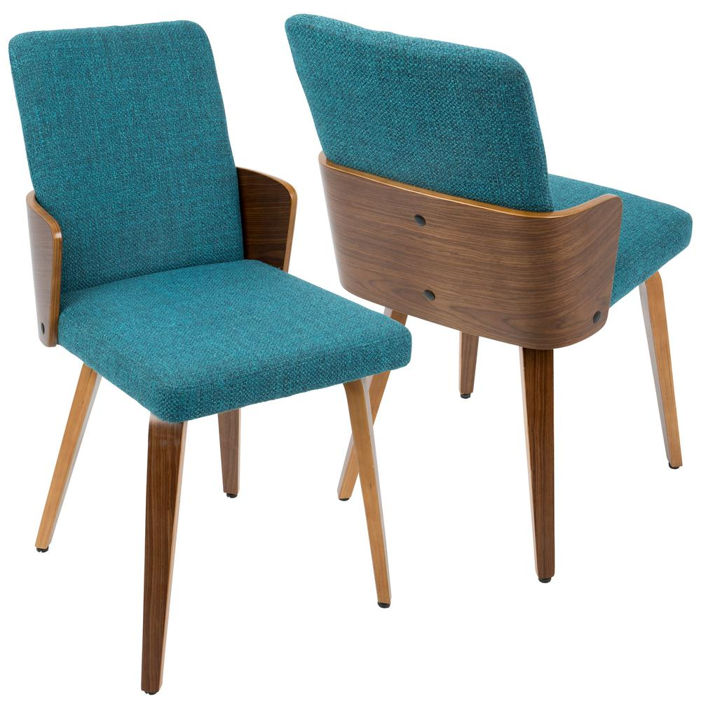 Lumisource Carmella Mid Century Modern Walnut And Teal Dining Chair Set Of 2 Ch Crml Wl Tl2 The Home Depot