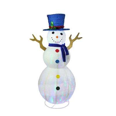 72 in. Christmas Pre-Lit LED Multi-Color Embossed Snowman with Top Hat Outdoor Decoration
