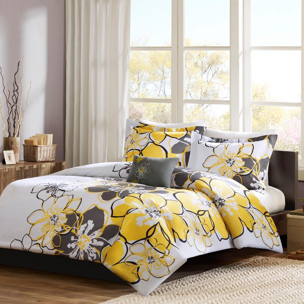 Skylar 4-Piece Yellow Full/Queen Floral Duvet Cover Set