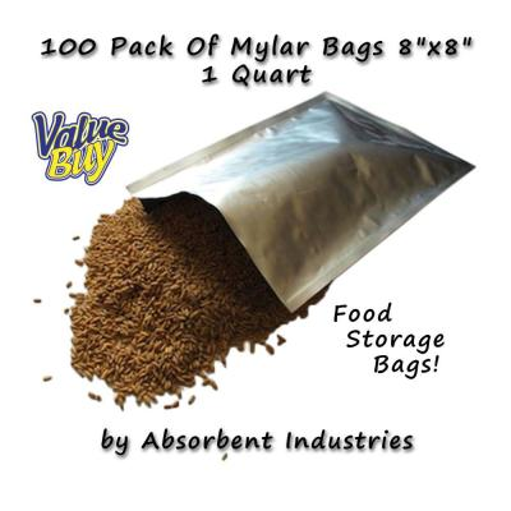 8 in. x 8 in. Mylar Quart Size Bags (100 per Pack)