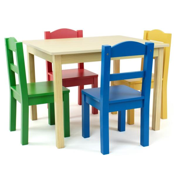 Toddler Table for 3-8 Years Teeker Kids Wood Table and 4 Chair Set,5 Pieces Set Includes 4 Chairs and 1 Activity Table White