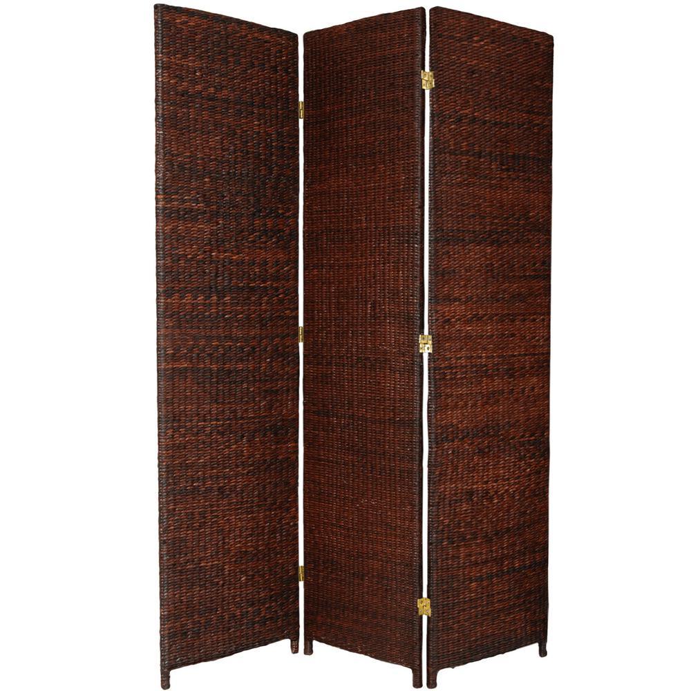 6 ft. Dark Brown 3-Panel Room Divider