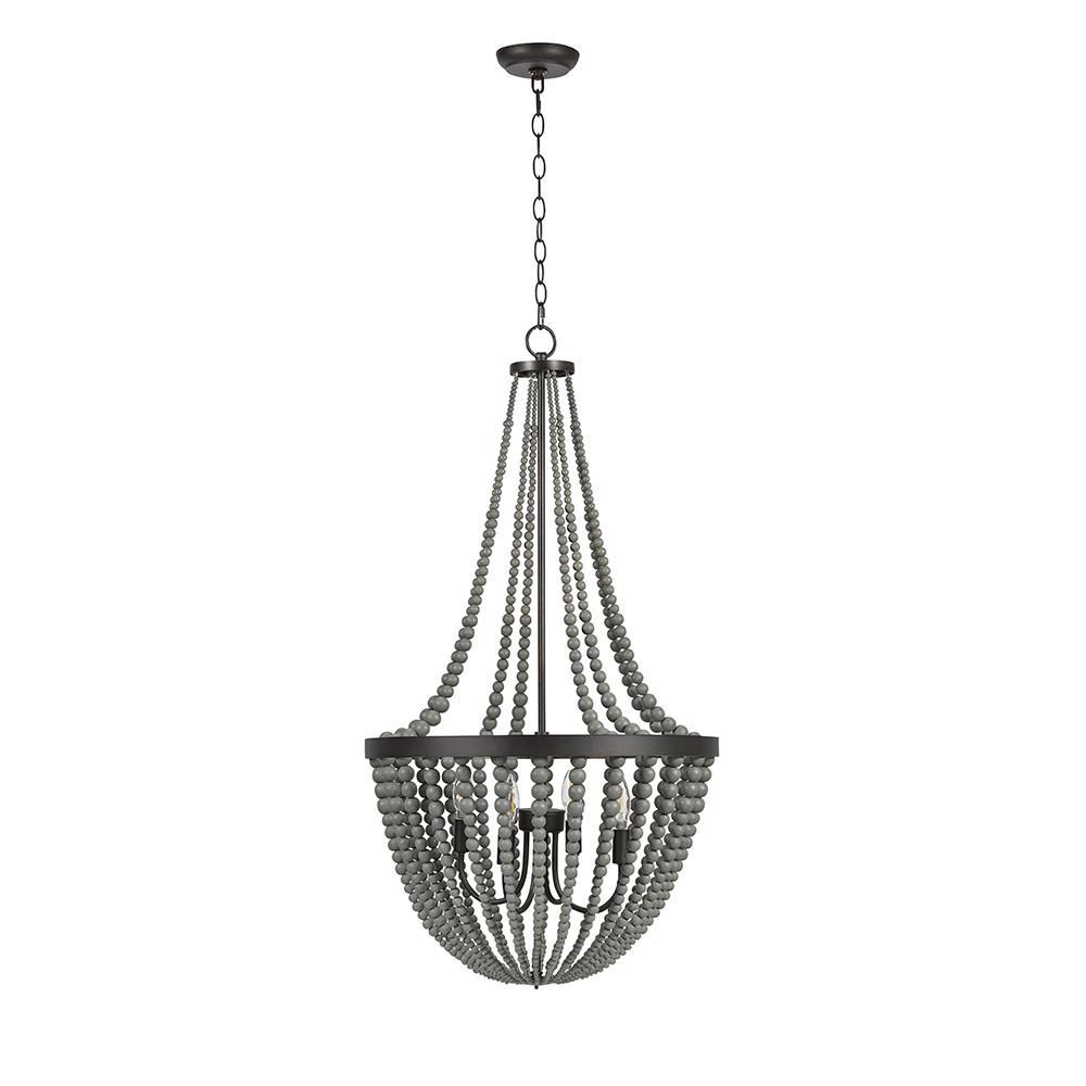 4-Light Gray Modern Farmhouse Chandelier and LED Bulb