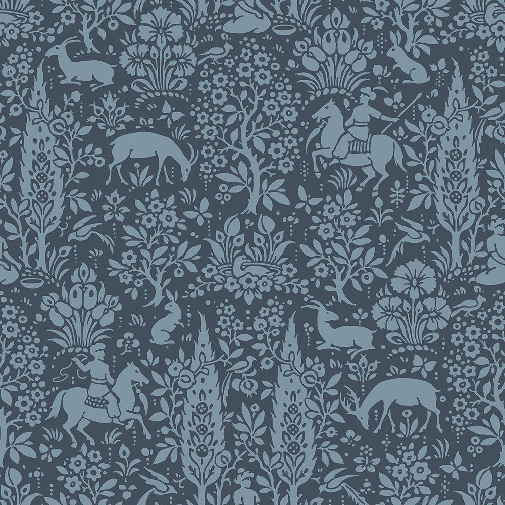 56.4 sq. ft. Sherwood Dark Blue Woodland Wallpaper