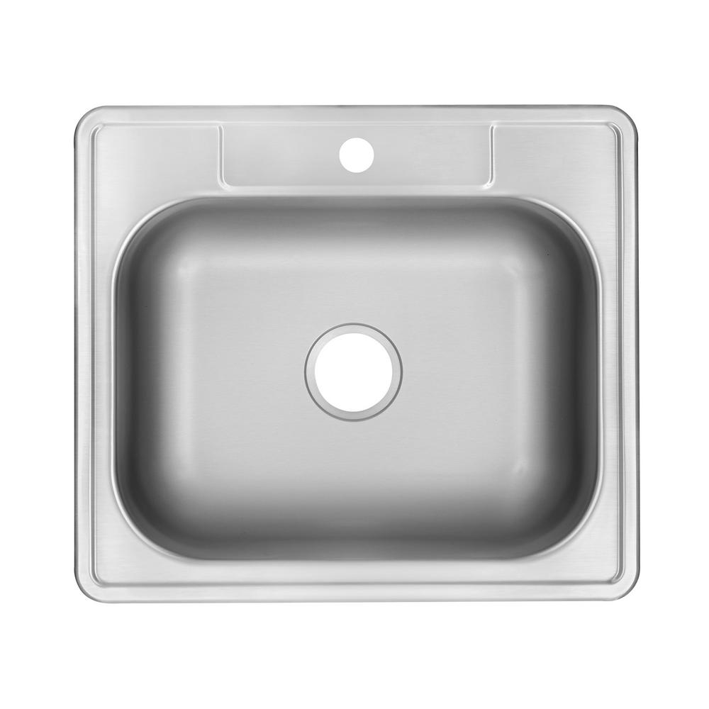 Glacier bay drop in stainless steel 25 in 1 hole single - Glacier bay drop in bathroom sink ...
