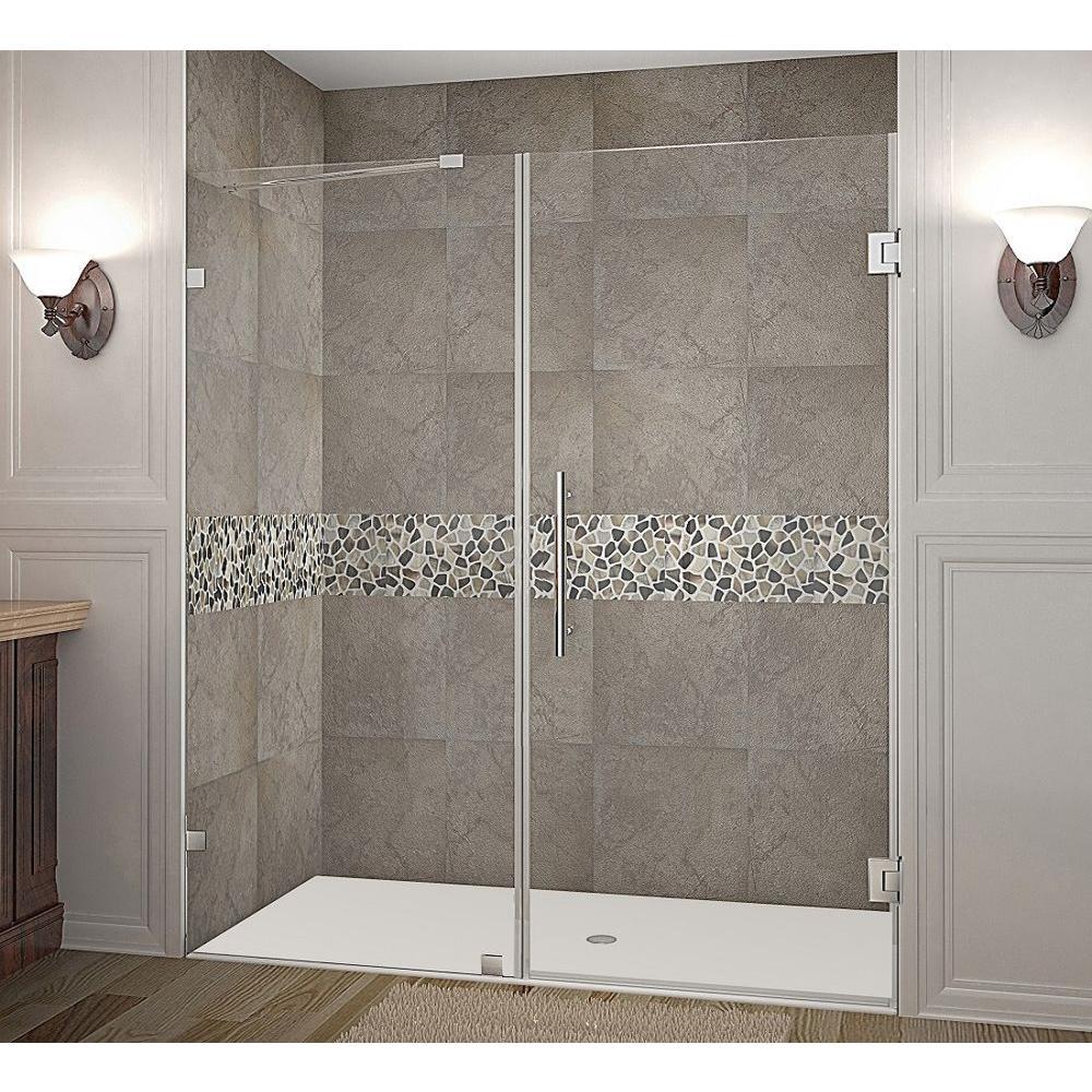 Nautis 70 in. x 72 in. Completely Frameless Hinged Shower Door in Chrome