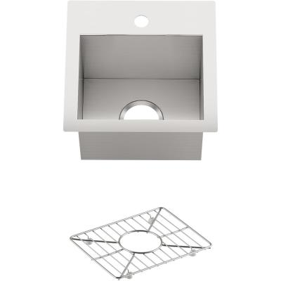 Vault Stainless Steel 15 in. 1-Hole Dual Mount Bar Sink