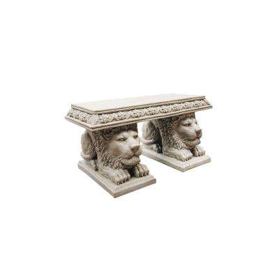 Grand Lion of St John's Square 2-Person 29.5 in. W Gothic Stone Polyresin Outdoor Bench