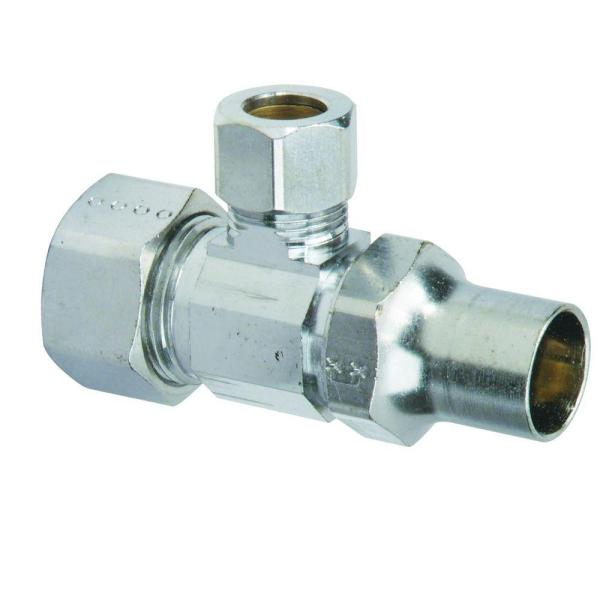 1/2 in. Comp Inlet x 3/8 in. Comp Outlet Brass Multi-Turn Angle Valve, Lockshield/Screwdriver Slot (5-Pack)