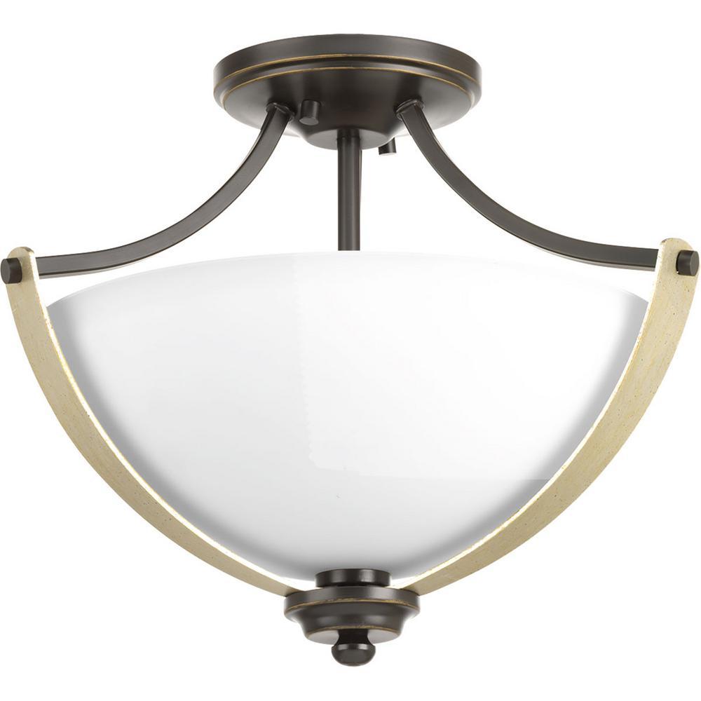 Progress Lighting Noma Collection 2-Light Antique Bronze Semi-Flush Mount