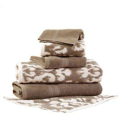 Ikat Damask 6-Piece Cotton Bath Towel Set in Mocha