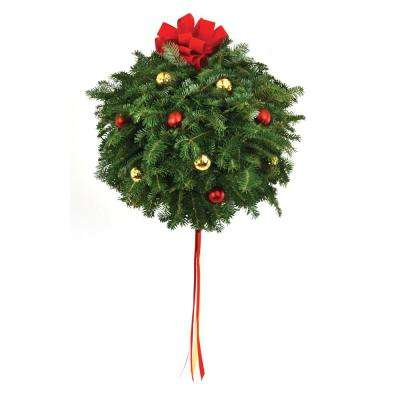 live fraser fir kissing christmas ball with red and gold ornaments and bow - Fresh Christmas Greenery