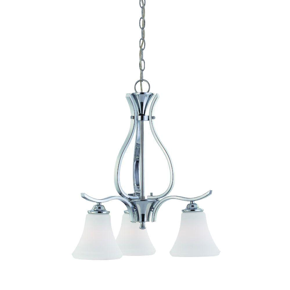 Thomas Lighting Tyler 3-Light Chrome Chandelier with Etched Glass Shade-DISCONTINUED