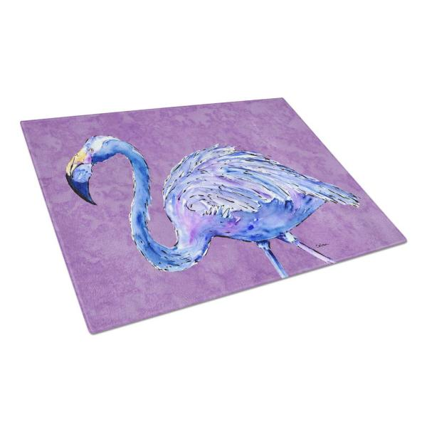 Flamingo on Purple Tempered Glass Large Cutting Board