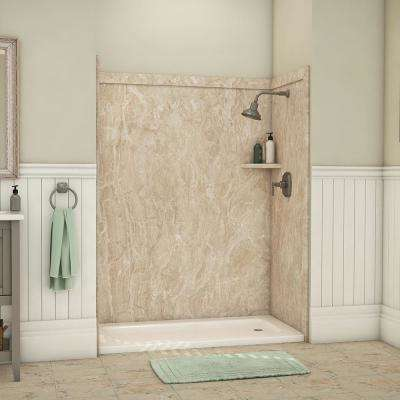 Royale 36 in. x 60 in. x 80 in. 11-Piece Easy Up Adhesive Alcove Bathtub/Shower Wall Surround in Alaskan Ivory